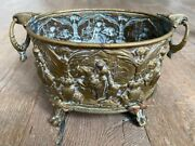 Anique Brass Planter Lovely Detail Of Woman On Horse Exquisite Quality