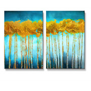 Wall26 - 2 Panel Canvas Wall Art - Oil Painting Style Abstract Golden Trees On -