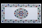 4and039x2and039 Table Top Inlay Marble Pietra Dura Art Coffee Dining Antique Work A19