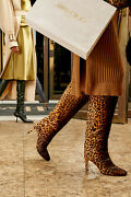 Jimmy Choo Andpound1850 Mehesa Leopard Pony Hair Knee High Boots New 37.5/uk4.5