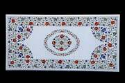 3and039x2and039 White Marble Inlay Table Top Coffee Center Elegant Mosaic Antique