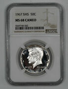 1967 Sms Kennedy Half Dollar 50c Ngc Ms 68 Mint State Unc - Cameo 042
