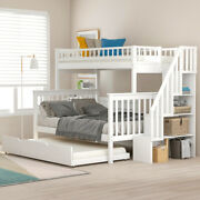 Twin-over-full Bunk Bed With Trundle Wood Furniture Bed Frame For Bedroom Us