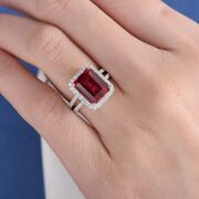 Antique Ruby Emerald Cut Bridal Sterling Silver Synthetic Casual Ring