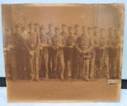 Ant. 1870and039s Civil War Union Soldier Group Photograph Uniformed W/swords And Rifles