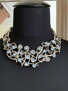 Vintage French Couture Xavier Loubens Paris Necklace Branch With Blue Crystals