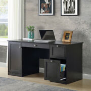 Office Computer Desk With 2 Drawers Storage Cabinet Hanging Letter-size Files Us