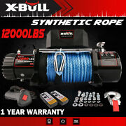 X-bull 12000lbs 12v Electric Winch Synthetic Blue Rope Truck Off Road 4wd