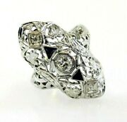 Ring Diamond And Sapphire Antique Vertical Marquis 18k White Gold .28 Ctw Sz 5.75
