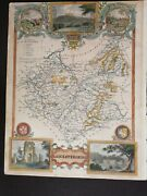 Thomas Moule Hand Coloured Antique Map Of Leicestershire- Circa 1850