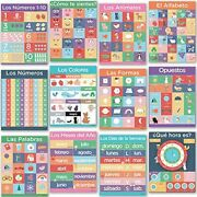 12 Spanish Posters For Classrooms - Language Learning Decorations Kids, Teaching