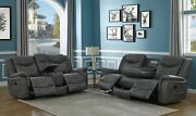 Grey Faux Leather Reclining Sofa And Love Seat Living Room Furniture Set