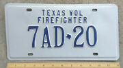 Tx Texas Volunteer Firefighter License Plate 7ad-20 - Blue On White - Mint Nos