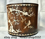 12old China Huanghuali Wood Inlay Shell Flower Bird Words Brush Pot Pencil Vase