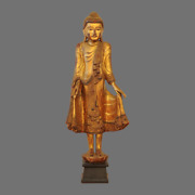 Huge 20c Thai Carved Wood Statue Of A Buddha Gold Great Carving