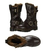 New Dr. Martens Womenand039s Kristy Mid Calf Faux Fur Chocolate Luxor Leather Boots