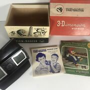 Vintage 1955 Viewmaster Model E 3d Viewer - Box And Pamphlet W/3 Reels