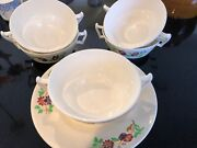 Copeland Golden State Pattern Set Of 5 Soup/condiment Cups And Saucers