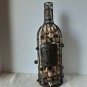 Wine Bottle Cork Storage- Large 14 Metal Wire Bottle Glass Beads With Corks