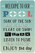 Welcome To Our Pool - Patio And Pool Decor - Nostalgic Pool Signs