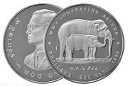 1998 Thailand 200 Baht Silver Proof Coin - Wwf Conserving Nature - Elephants