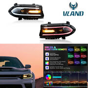 2pcs Rgb Color Change Led Drl Projector Headlights For 15-20 Dodge Charger