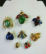 Mix Lot Bug Fly Collection Sterling Silver Vtg Costume Germany Rhinestone Brooch