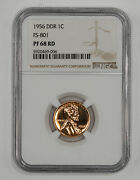 1956 Ddr Proof Lincoln Wheat Cent Penny 1c Fs-801 Ngc Certified Pf 68 Red 006