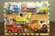 Modern Chunky Wood Puzzle Melissa And Doug Construction Work Site Vehicles Trucks