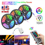 50ft Flexible 3528 Rgb Led Smd Strip Light Remote Fairy Lights Room Tv Party Bar