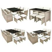 Patio Furniture Rattan Dining Furniture Set Outdoor Table Cushioned Chairs Set