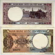 One Ticket South Vietnam 1 Dong Tractor Rice Field P15a 1964 See Scans High Def