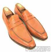 George Cleverley Brown Tan Leather Penny Loafer Dress Shoes - Uk 8.5 / Us 9.5 E