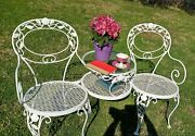Woodard Chantilly Rose Tete A Tete Wrought Iron Antique White Excellent Cond