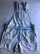 American Eagle Womenand039s Distressed Denim Overall Shorts Size Medium