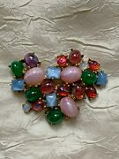 Remarkable Vintage Boucher Brooch Numbered 0220p,coloured Glass Andstone Cabochons