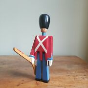 Vintage Kay Bojesen Demark 8.5 Red And Blue Wooden Toy Soldier With Rifle