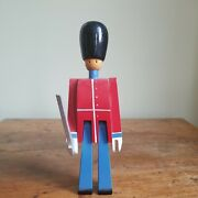 Vintage Kay Bojesen Demark 8.5 Blue And Red Wooden Toy Soldier With Sword
