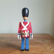 Vintage Kay Bojesen Demark 8.5 Blue And Red Wooden Toy Soldier With Drum