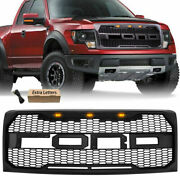 Black Grille Raptor Style Grill For 2009-2014 Ford F150 W/led Lights And Letters
