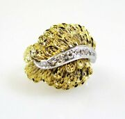 Ring Diamond And 18k Yellow And White Gold Feathers Dome Cocktail .06 Ctw Size 6.5