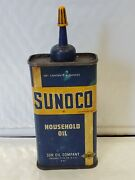 Early Vintage 4 Oz Sunoco Household Oil Oiler Tin Can Gas And Oil Advertising Mint