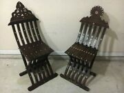 Pair Of Antique Syrian Folding Scribe Vintage Mother Of Pearl Inlay Wood Chairs.