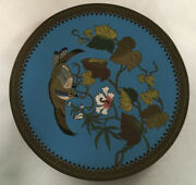 Antique Cloisonne On Brass Charger Plate With Hawk Bird On Floral Vine Japanese