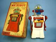 Craqstanand039s Mr.robot Electric Tin Toy Battery Powered White Body 50and039s Vintage