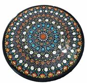 30and039and039 Black Marble Dining Center Side Coffee Table Top Inlay Antique Malachite F6