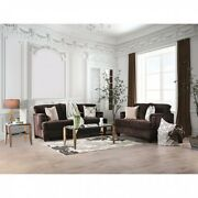 Beautiful Padded Chenille Chocolate Color 2pc Sofa Set Sofa Loveseat Flared Arms