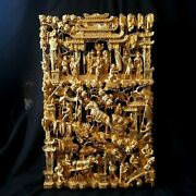 Large Antique Chinese Carved Wood Gilt Temple Panel 25.5 X 16 X 2.5 Rare