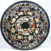 4and039x4and039 Black Marble Round Center Dining Table Top Inlay Pietra Dura Antique Home