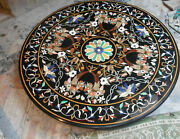 4and039x4and039 Antique Black Marble Center Coffee Table Top Stone Inlay Decor Mosaic